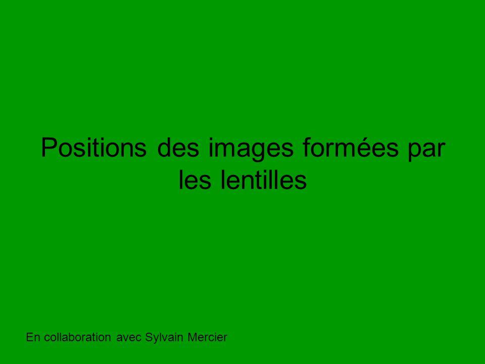 Positions des images formées par les lentilles En collaboration avec Sylvain Mercier