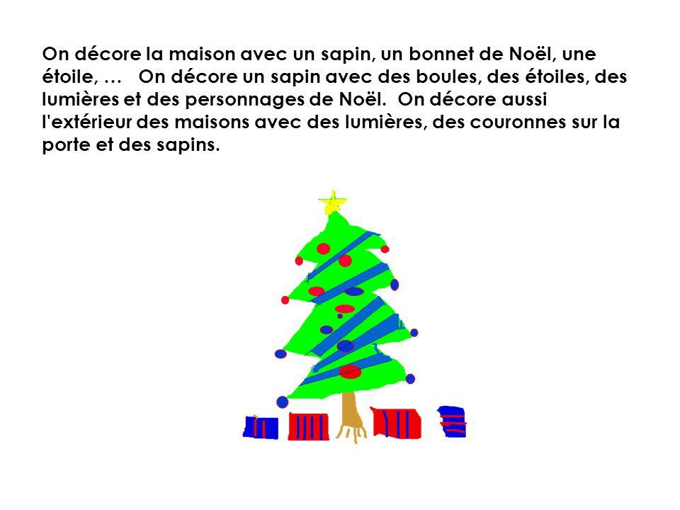 Noël est une fête importante pour les enfants et les adultes. Il n'y a pas d'école à Noël. On porte de nouveaux vêtements et on fête en famille. On dé