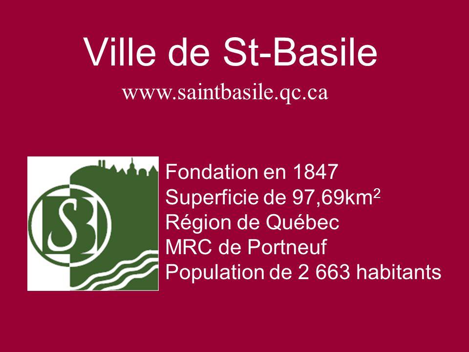 Ville de St-Basile Fondation en 1847 Superficie de 97,69km 2 Région de Québec MRC de Portneuf Population de 2 663 habitants www.saintbasile.qc.ca