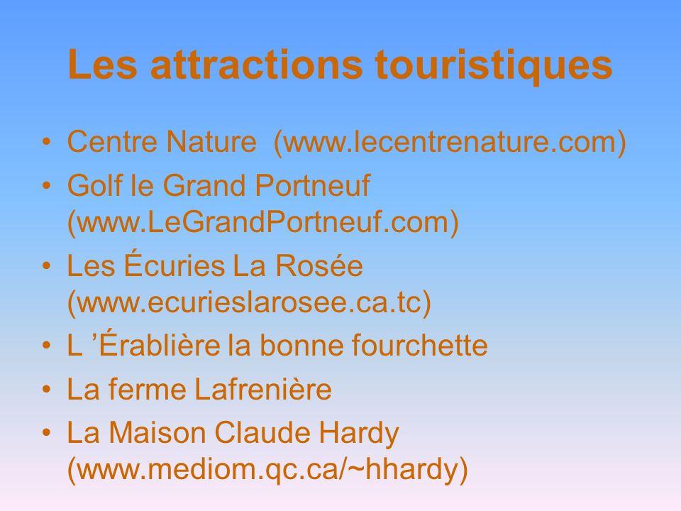 Les attractions touristiques Centre Nature (www.lecentrenature.com) Golf le Grand Portneuf (www.LeGrandPortneuf.com) Les Écuries La Rosée (www.ecuries
