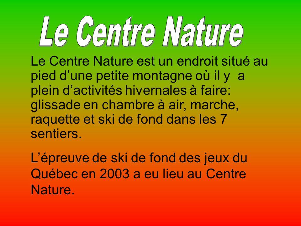 Le Centre Nature est un endroit situé au pied dune petite montagne où il y a plein dactivités hivernales à faire: glissade en chambre à air, marche, raquette et ski de fond dans les 7 sentiers.