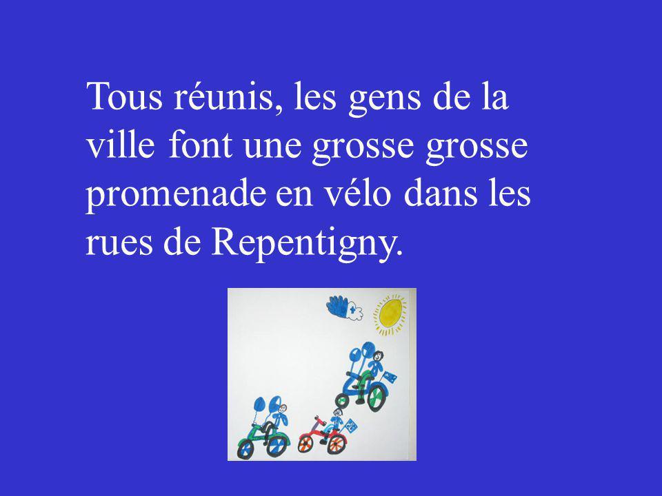 Tous réunis, les gens de la ville font une grosse grosse promenade en vélo dans les rues de Repentigny.