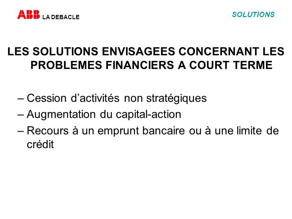 LA DEBACLE SOLUTIONS LES SOLUTIONS ENVISAGEES CONCERNANT LES PROBLEMES FINANCIERS A COURT TERME –Cession dactivités non stratégiques –Augmentation du capital-action –Recours à un emprunt bancaire ou à une limite de crédit