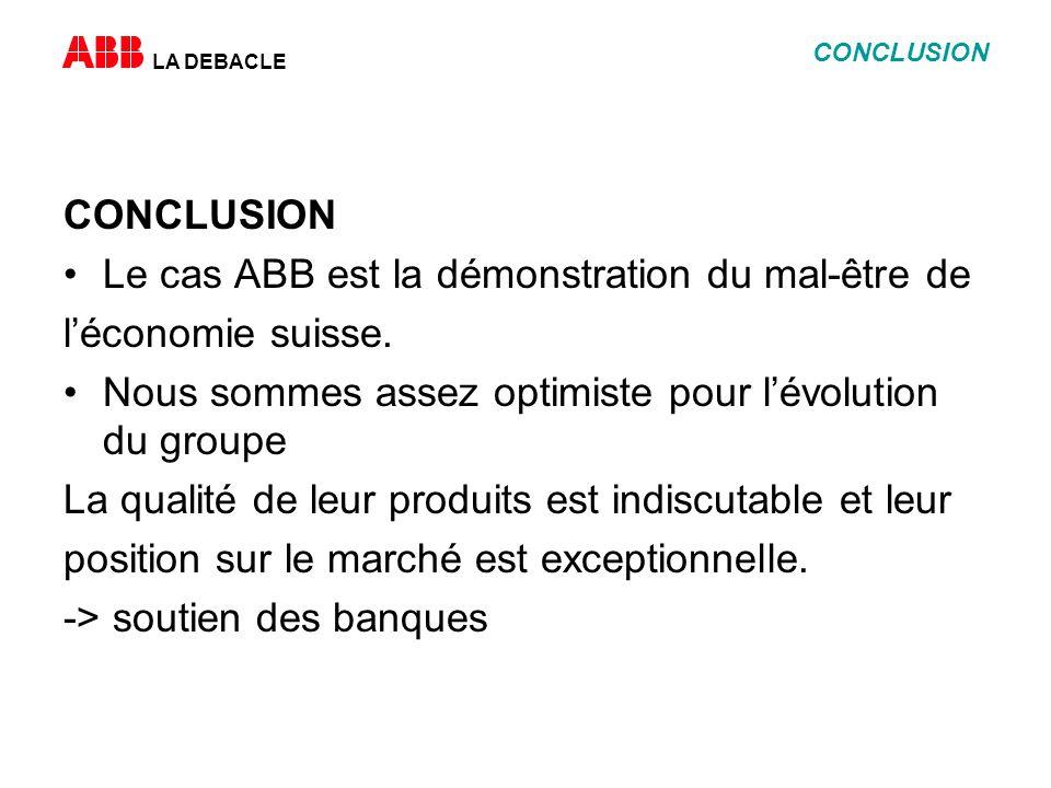 LA DEBACLE CONCLUSION Le cas ABB est la démonstration du mal-être de léconomie suisse.