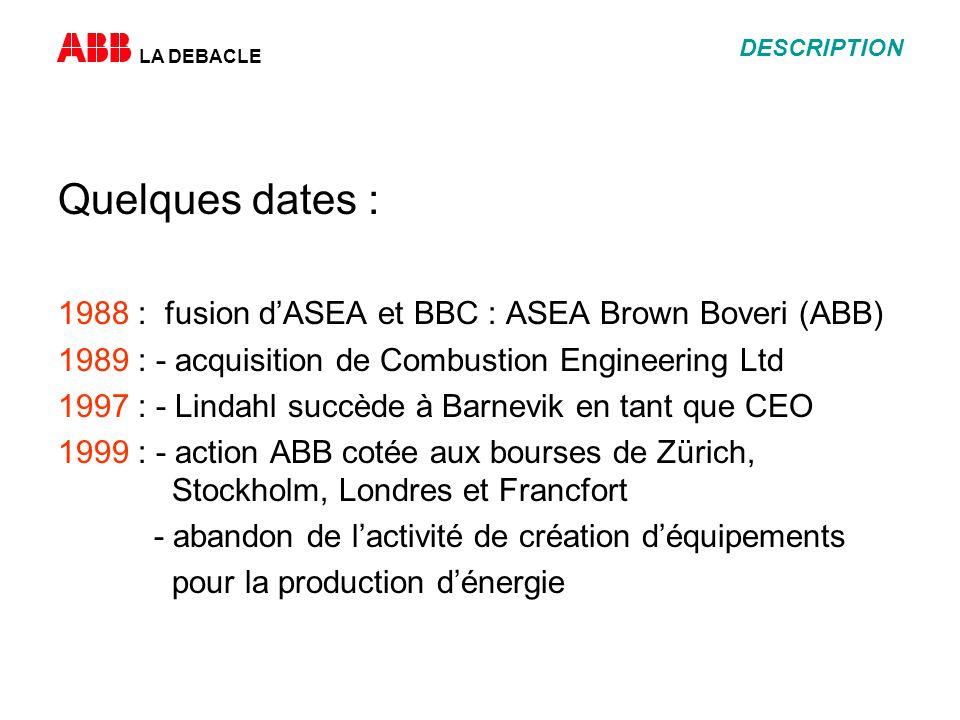 LA DEBACLE DESCRIPTION Quelques dates : 1988 : fusion dASEA et BBC : ASEA Brown Boveri (ABB) 1989 : - acquisition de Combustion Engineering Ltd 1997 :