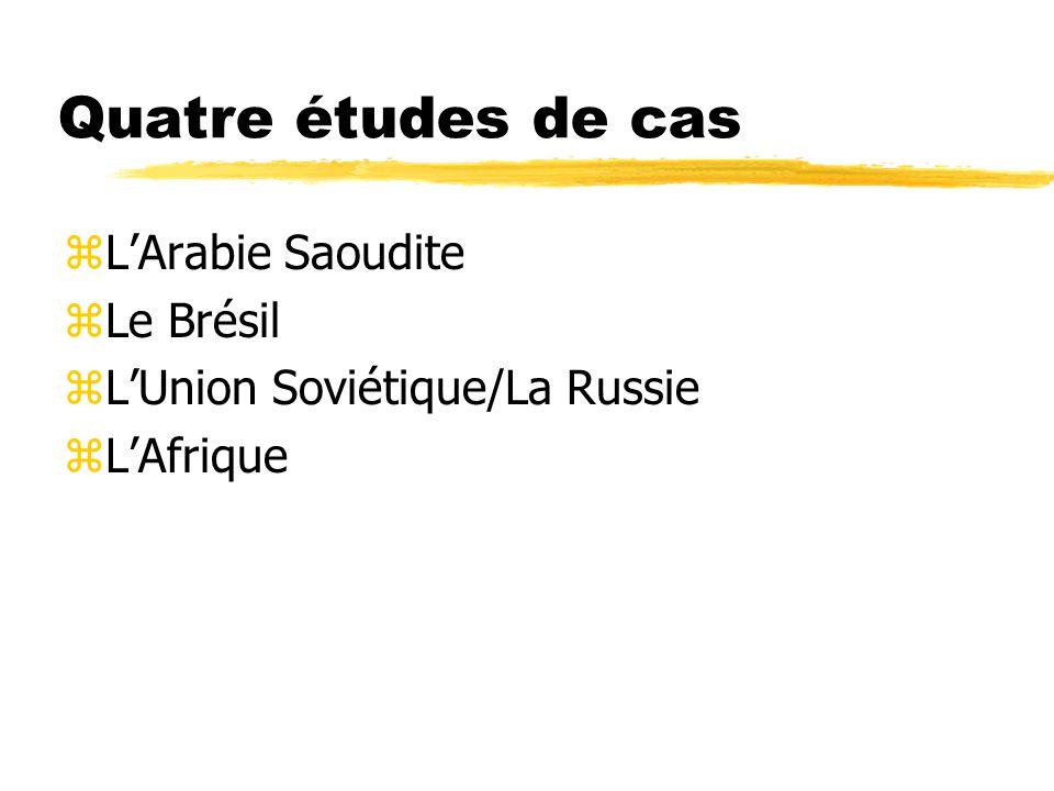 Quatre études de cas zLArabie Saoudite zLe Brésil zLUnion Soviétique/La Russie zLAfrique