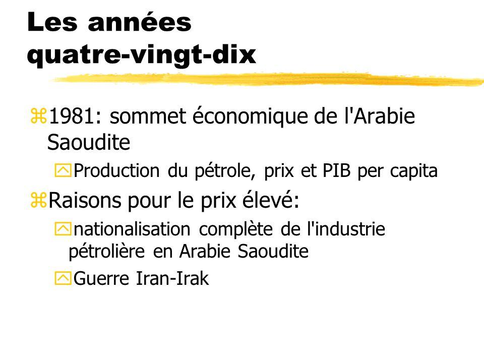 Les années quatre-vingt-dix z1981: sommet économique de l Arabie Saoudite yProduction du pétrole, prix et PIB per capita zRaisons pour le prix élevé: ynationalisation complète de l industrie pétrolière en Arabie Saoudite yGuerre Iran-Irak