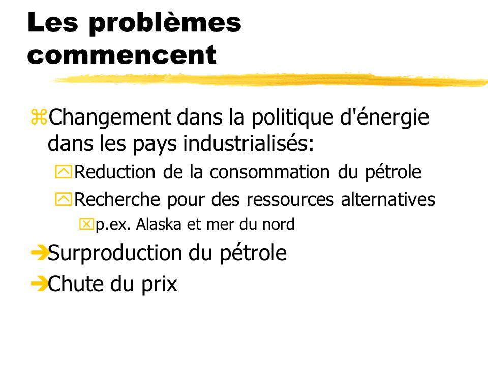 Les problèmes commencent zChangement dans la politique d énergie dans les pays industrialisés: yReduction de la consommation du pétrole yRecherche pour des ressources alternatives xp.ex.