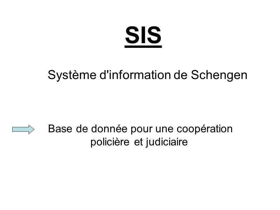 Base de donnée pour une coopération policière et judiciaire SIS Système d'information de Schengen