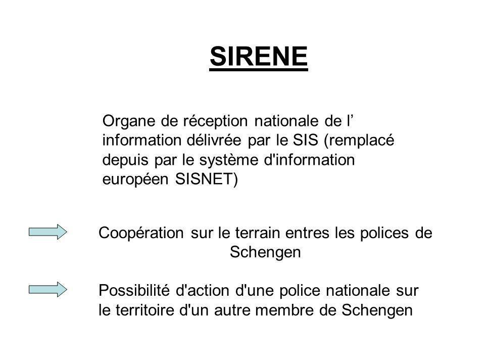 Coopération sur le terrain entres les polices de Schengen SIRENE Organe de réception nationale de l information délivrée par le SIS (remplacé depuis p