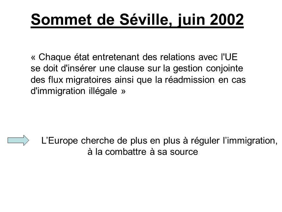 LEurope cherche de plus en plus à réguler limmigration, à la combattre à sa source Sommet de Séville, juin 2002 « Chaque état entretenant des relation