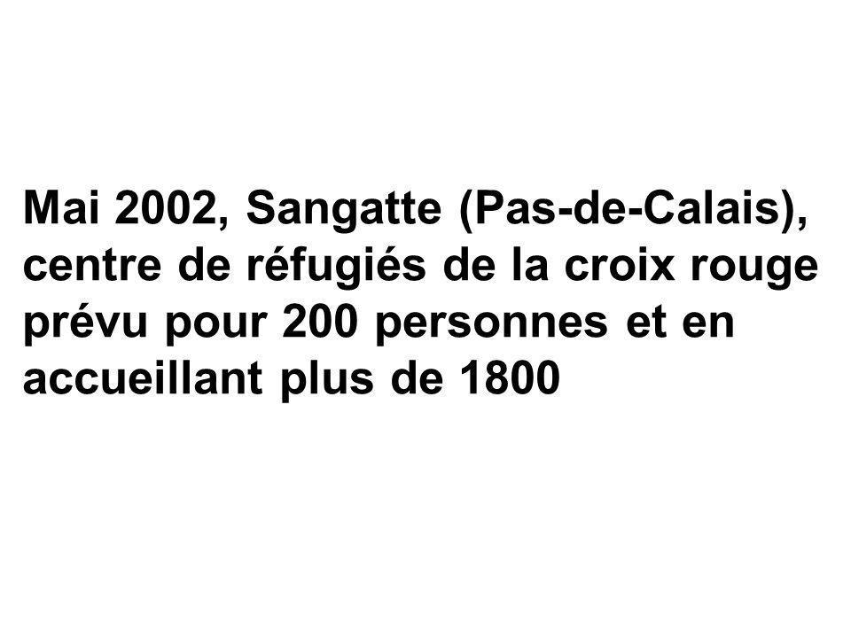 Mai 2002, Sangatte (Pas-de-Calais), centre de réfugiés de la croix rouge prévu pour 200 personnes et en accueillant plus de 1800