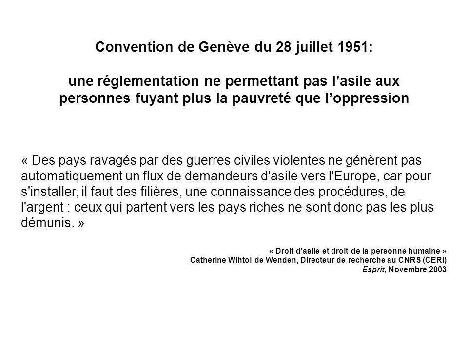 Convention de Genève du 28 juillet 1951: une réglementation ne permettant pas lasile aux personnes fuyant plus la pauvreté que loppression « Des pays