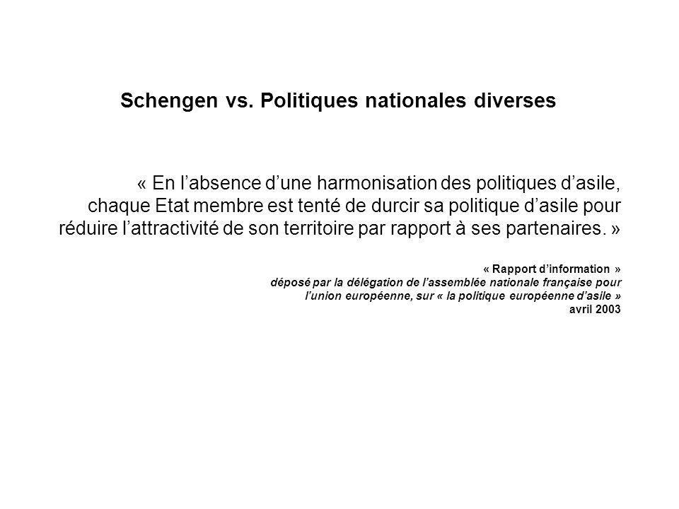 Schengen vs. Politiques nationales diverses « En labsence dune harmonisation des politiques dasile, chaque Etat membre est tenté de durcir sa politiqu