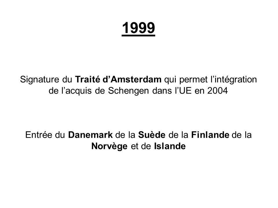 1999 Signature du Traité dAmsterdam qui permet lintégration de lacquis de Schengen dans lUE en 2004 Entrée du Danemark de la Suède de la Finlande de l
