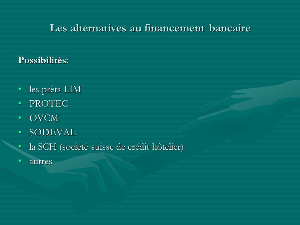 Les alternatives au financement bancaire Possibilités: les prêts LIMles prêts LIM PROTECPROTEC OVCMOVCM SODEVALSODEVAL la SCH (société suisse de crédit hôtelier)la SCH (société suisse de crédit hôtelier) autresautres