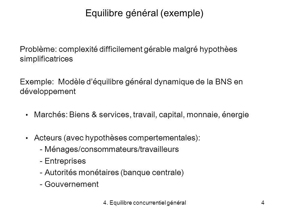 4. Equilibre concurrentiel général4 Equilibre général (exemple) Problème: complexité difficilement gérable malgré hypothèes simplificatrices Exemple: