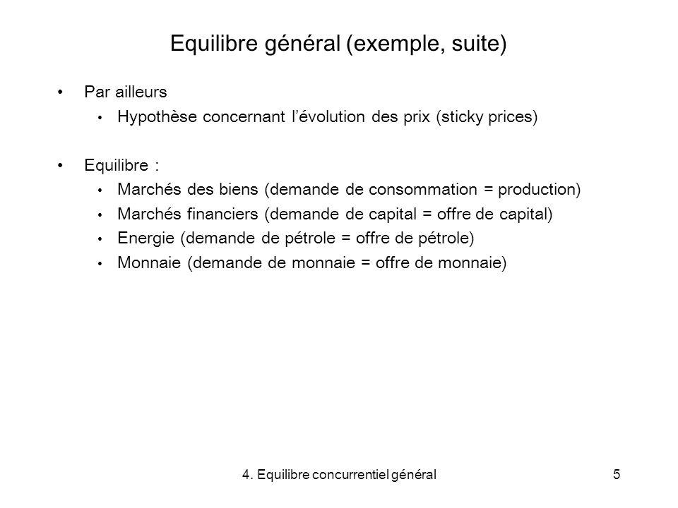 4. Equilibre concurrentiel général5 Equilibre général (exemple, suite) Par ailleurs Hypothèse concernant lévolution des prix (sticky prices) Equilibre