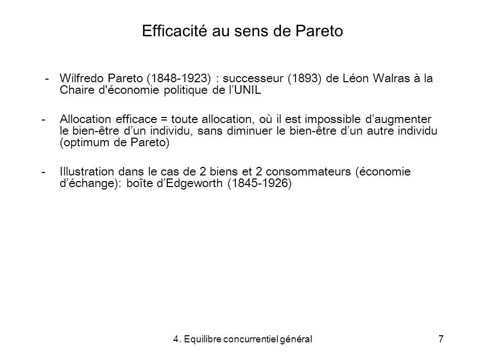 4. Equilibre concurrentiel général7 Efficacité au sens de Pareto - Wilfredo Pareto (1848-1923) : successeur (1893) de Léon Walras à la Chaire d'économ