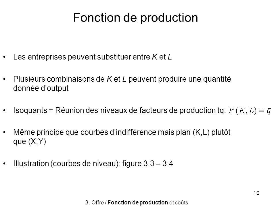 10 Fonction de production Les entreprises peuvent substituer entre K et L Plusieurs combinaisons de K et L peuvent produire une quantité donnée doutpu