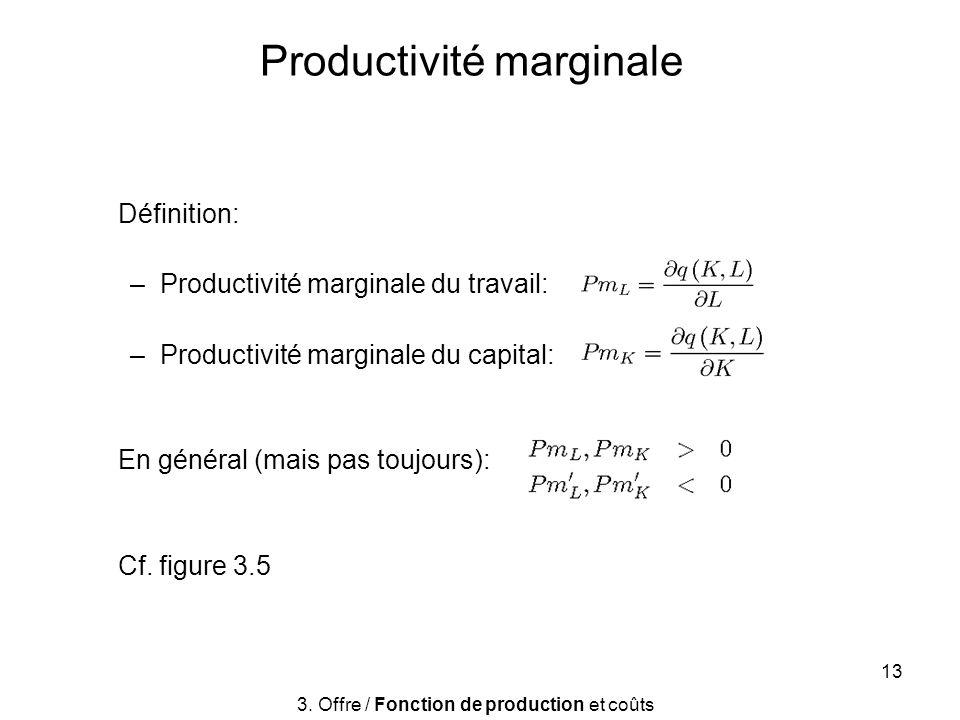 13 Productivité marginale Définition: –Productivité marginale du travail: –Productivité marginale du capital: En général (mais pas toujours): Cf. figu