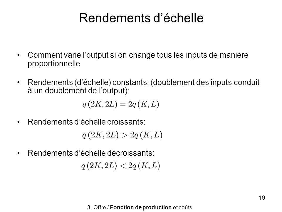 19 Rendements déchelle Comment varie loutput si on change tous les inputs de manière proportionnelle Rendements (déchelle) constants: (doublement des