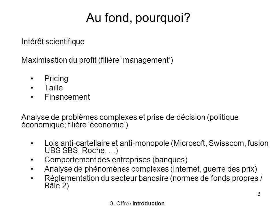 3 Au fond, pourquoi? Intérêt scientifique Maximisation du profit (filière management) Pricing Taille Financement Analyse de problèmes complexes et pri