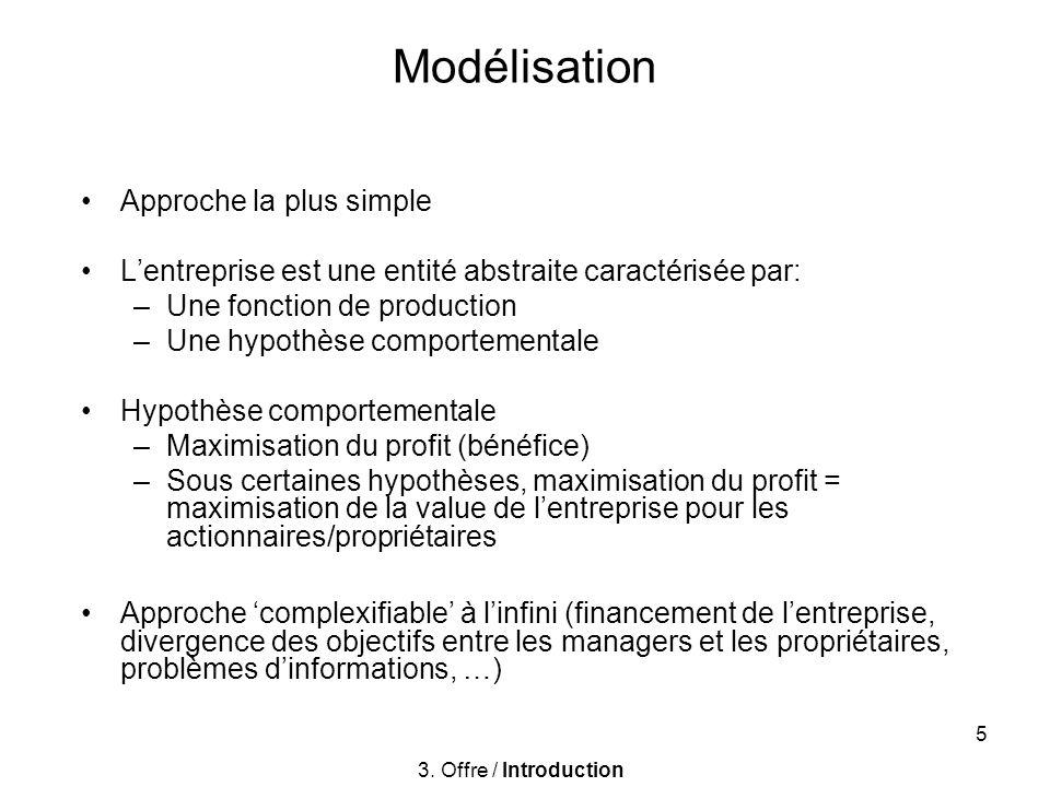5 Modélisation Approche la plus simple Lentreprise est une entité abstraite caractérisée par: –Une fonction de production –Une hypothèse comportementa