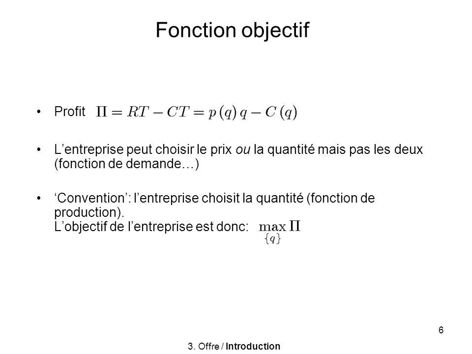 6 Fonction objectif Profit Lentreprise peut choisir le prix ou la quantité mais pas les deux (fonction de demande…) Convention: lentreprise choisit la