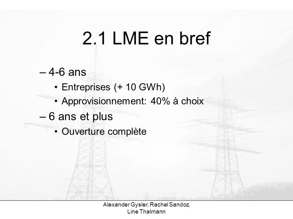 Alexander Gysler, Rachel Sandoz, Line Thalmann 2.1 LME en bref –4-6 ans Entreprises (+ 10 GWh) Approvisionnement: 40% à choix –6 ans et plus Ouverture