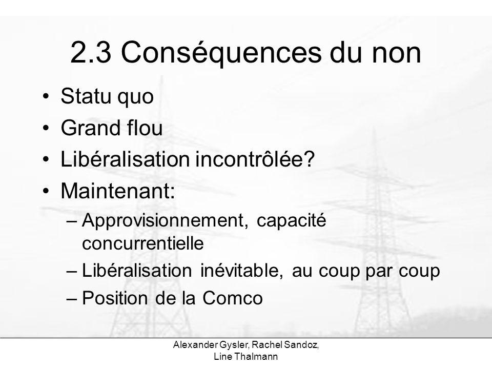 Alexander Gysler, Rachel Sandoz, Line Thalmann 2.3 Conséquences du non Statu quo Grand flou Libéralisation incontrôlée? Maintenant: –Approvisionnement