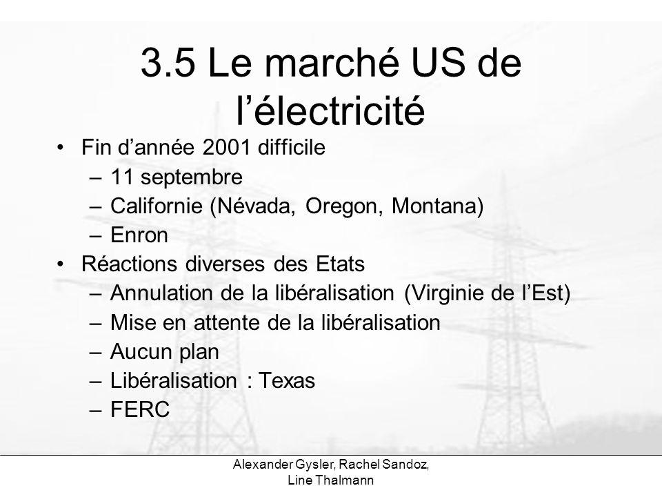 Alexander Gysler, Rachel Sandoz, Line Thalmann 3.5 Le marché US de lélectricité Fin dannée 2001 difficile –11 septembre –Californie (Névada, Oregon, M