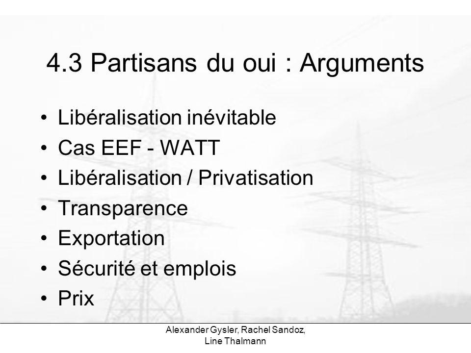 Alexander Gysler, Rachel Sandoz, Line Thalmann 4.3 Partisans du oui : Arguments Libéralisation inévitable Cas EEF - WATT Libéralisation / Privatisatio