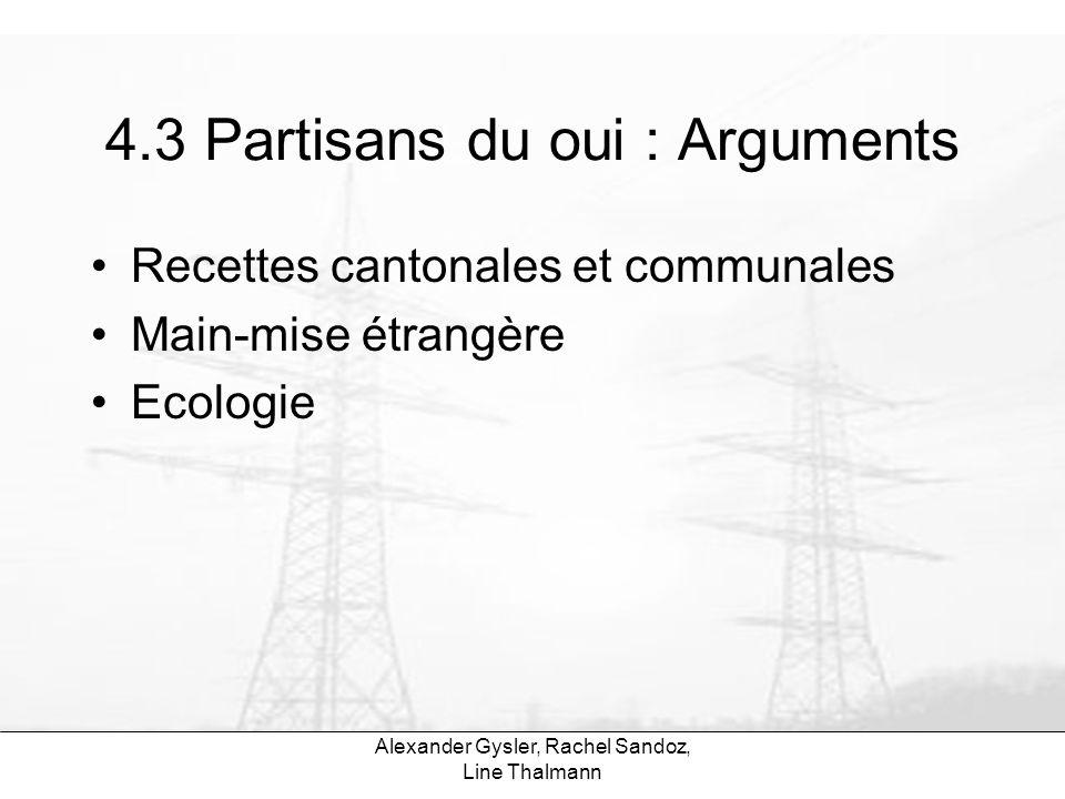 Alexander Gysler, Rachel Sandoz, Line Thalmann 4.3 Partisans du oui : Arguments Recettes cantonales et communales Main-mise étrangère Ecologie