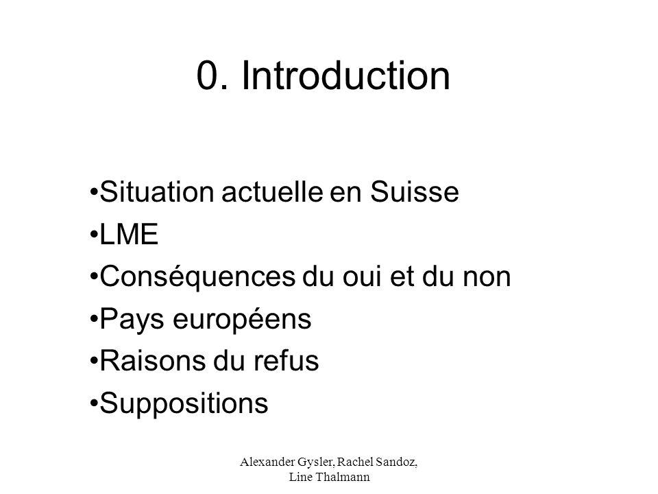 Alexander Gysler, Rachel Sandoz, Line Thalmann 0. Introduction Situation actuelle en Suisse LME Conséquences du oui et du non Pays européens Raisons d