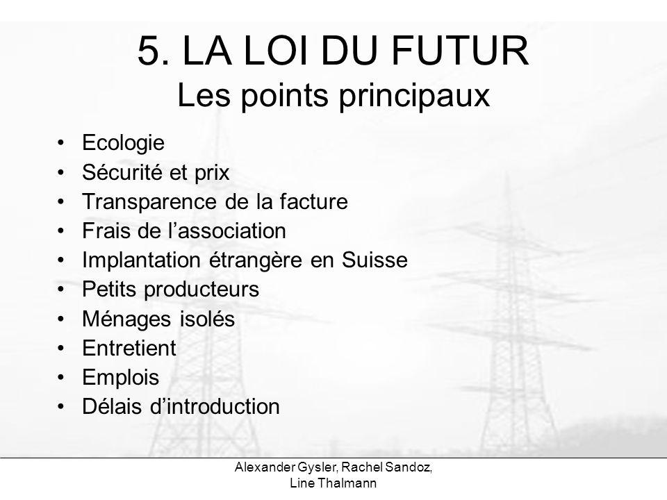 Alexander Gysler, Rachel Sandoz, Line Thalmann 5. LA LOI DU FUTUR Les points principaux Ecologie Sécurité et prix Transparence de la facture Frais de