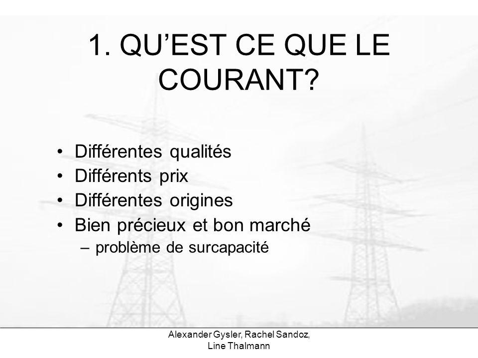 Alexander Gysler, Rachel Sandoz, Line Thalmann 1. QUEST CE QUE LE COURANT? Différentes qualités Différents prix Différentes origines Bien précieux et