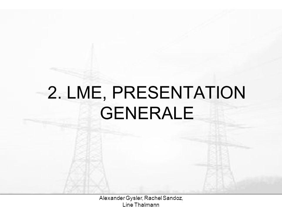 Alexander Gysler, Rachel Sandoz, Line Thalmann 2.1 La LME en bref LME Libéralisation ni privatisation But de la LME: –Transparence et concurrence –Garantie légale dapprovisionnement –Promotion des energies renouvelables