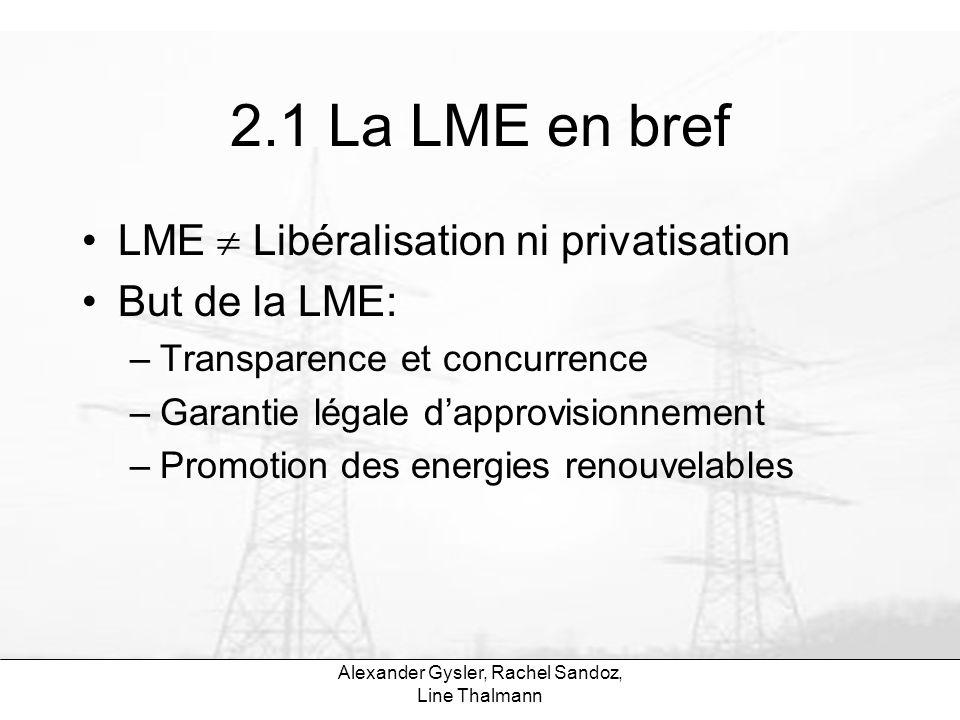 Alexander Gysler, Rachel Sandoz, Line Thalmann 2.1 La LME en bref Trois étapes dans la libéralisation: –1-3 ans: Gros clients (+ 20 GWh) Conditions spéciales pour énergies renouvelables Approvisionnement :20% à choix