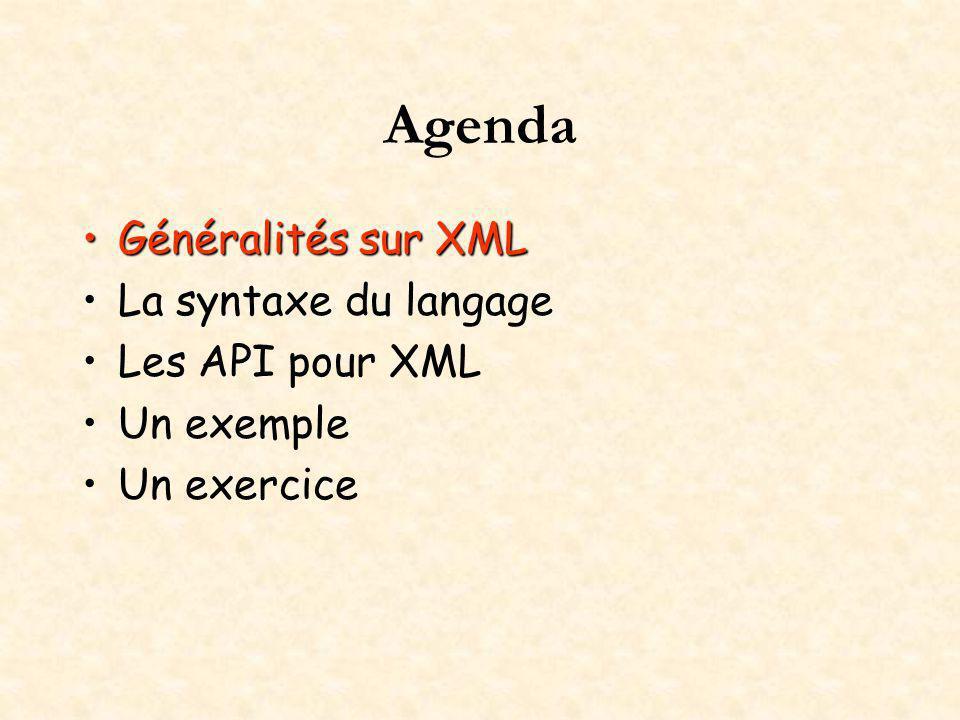 Agenda Généralités sur XMLGénéralités sur XML La syntaxe du langage Les API pour XML Un exemple Un exercice