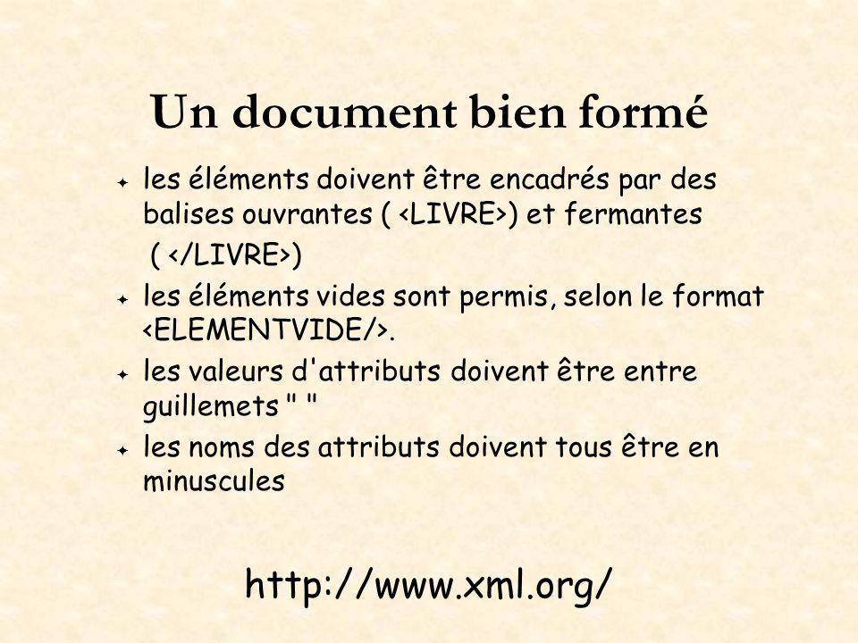 Un document bien formé les éléments doivent être encadrés par des balises ouvrantes ( ) et fermantes ( ) les éléments vides sont permis, selon le format.