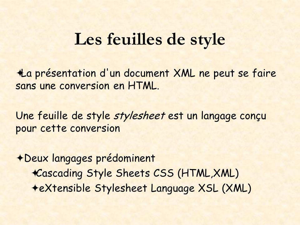 Les feuilles de style La présentation d'un document XML ne peut se faire sans une conversion en HTML. Une feuille de style stylesheet est un langage c