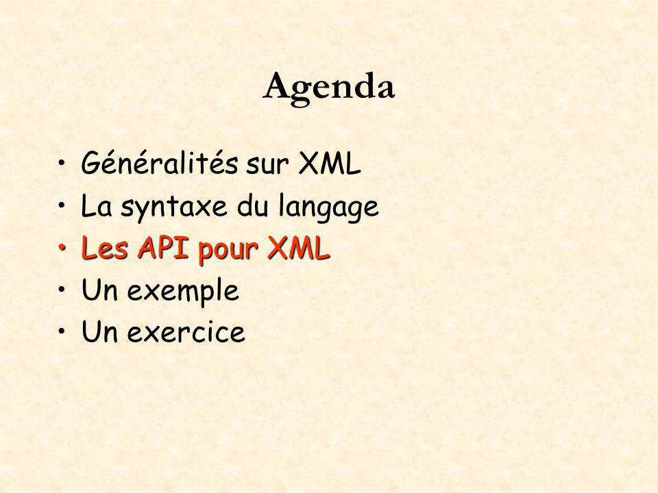 Agenda Généralités sur XML La syntaxe du langage Les API pour XMLLes API pour XML Un exemple Un exercice