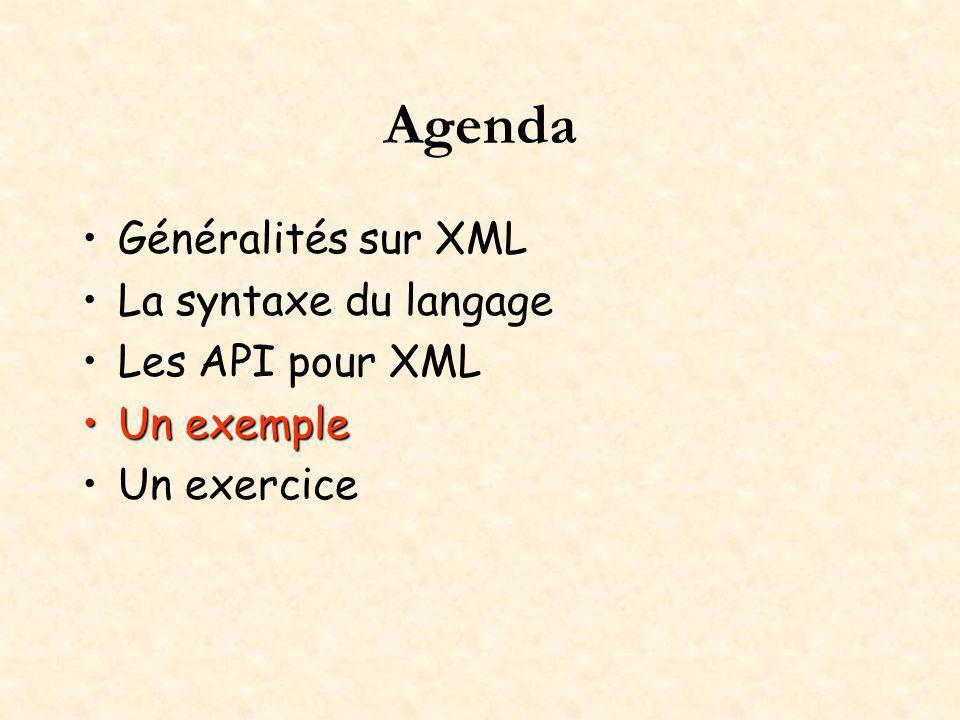 Agenda Généralités sur XML La syntaxe du langage Les API pour XML Un exempleUn exemple Un exercice