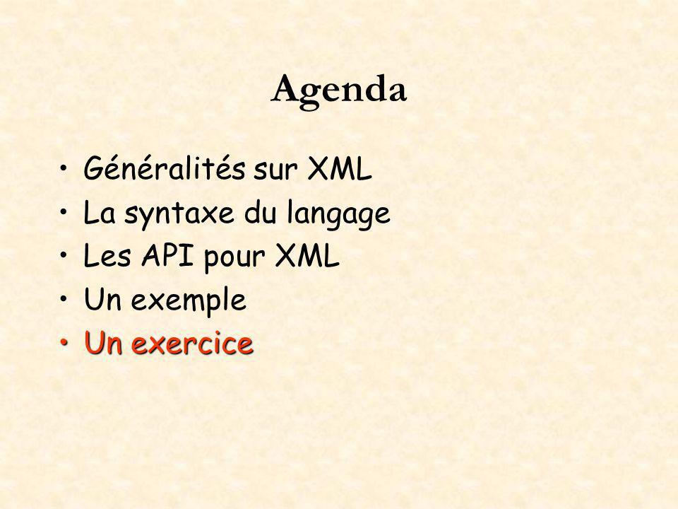 Agenda Généralités sur XML La syntaxe du langage Les API pour XML Un exemple Un exerciceUn exercice