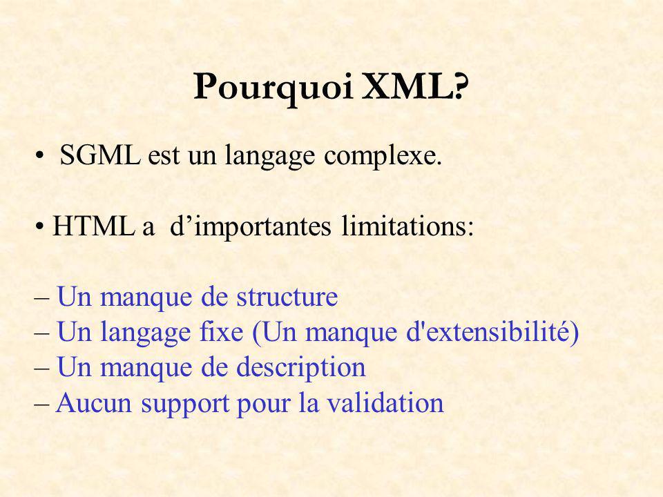 Pourquoi XML? SGML est un langage complexe. HTML a dimportantes limitations: – Un manque de structure – Un langage fixe (Un manque d'extensibilité) –