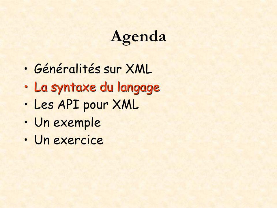 Agenda Généralités sur XML La syntaxe du langageLa syntaxe du langage Les API pour XML Un exemple Un exercice