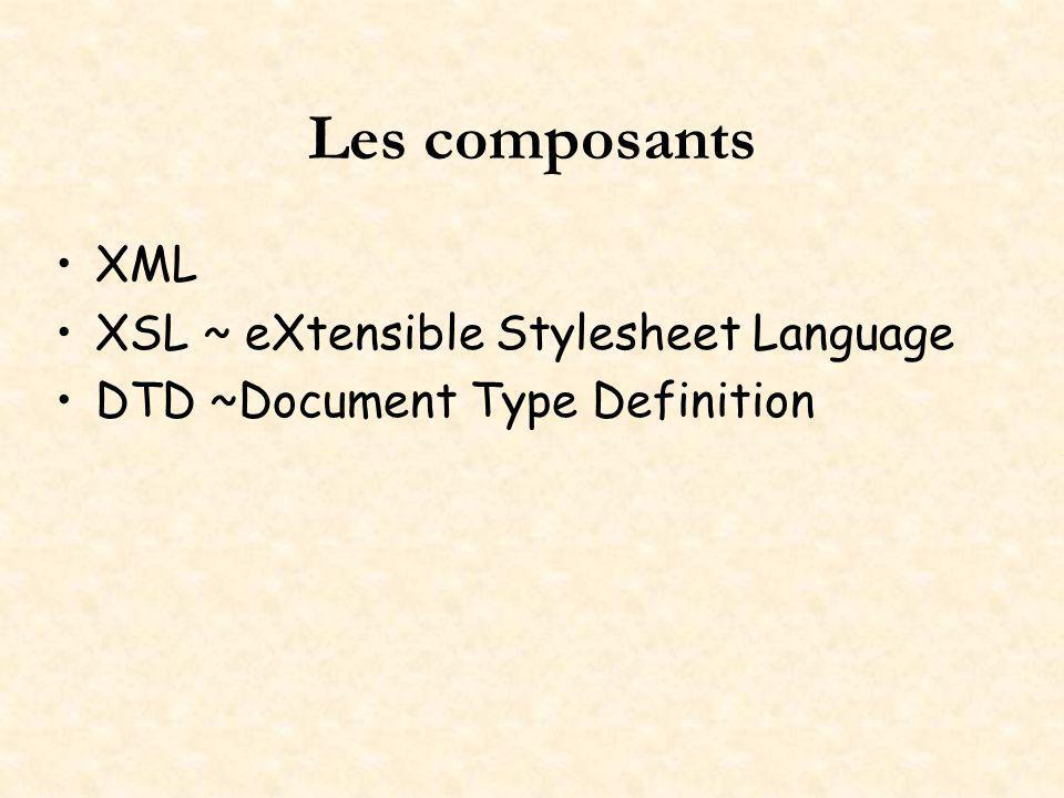 Les composants XML XSL ~ eXtensible Stylesheet Language DTD ~Document Type Definition