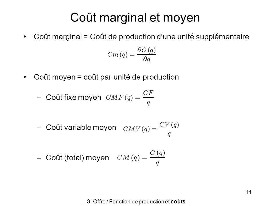 11 Coût marginal et moyen Coût marginal = Coût de production dune unité supplémentaire Coût moyen = coût par unité de production –Coût fixe moyen –Coû