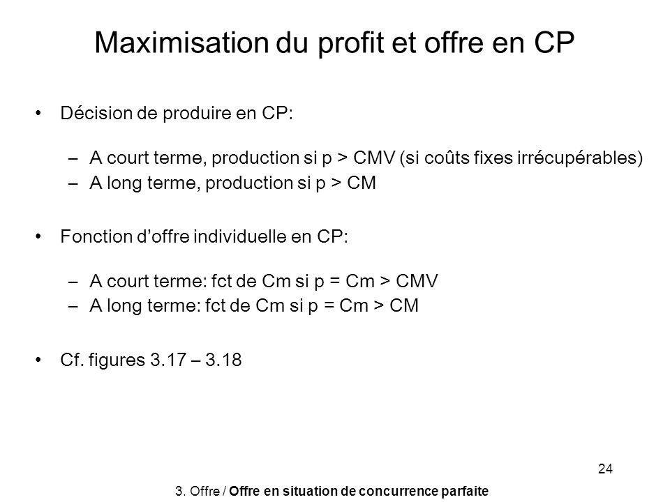 24 Décision de produire en CP: –A court terme, production si p > CMV (si coûts fixes irrécupérables) –A long terme, production si p > CM Fonction doff